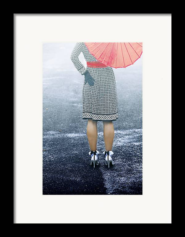 Woman Framed Print featuring the photograph Red Umbrella by Joana Kruse