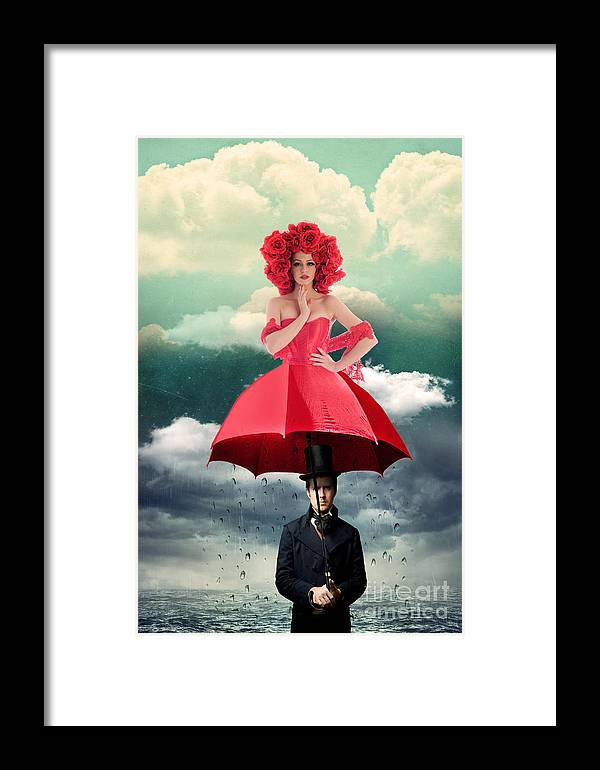 Photomanipulation Framed Print featuring the photograph Red Umbrella by Juli Scalzi