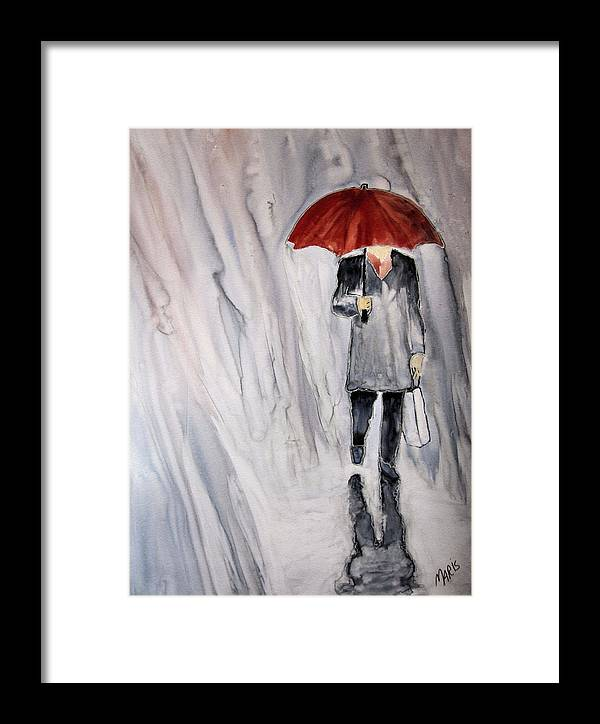 Rain Framed Print featuring the painting Red Umbrella by Maris Sherwood
