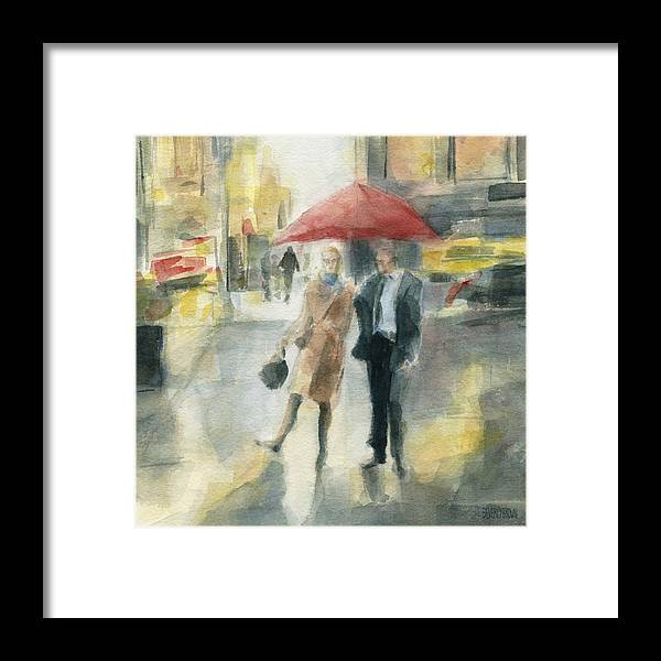 New York Framed Print featuring the painting Red Umbrella New York City by Beverly Brown