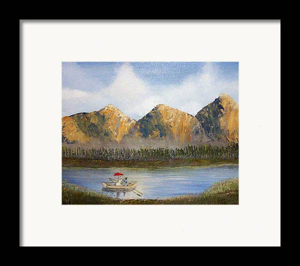 Landscape Framed Print featuring the painting Red Umbrella by Tony Rodriguez