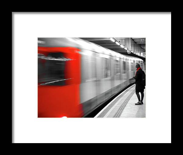 London Framed Print featuring the photograph Red underground train by Jaime Scatena