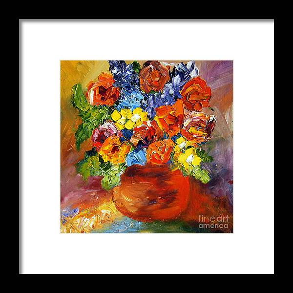 Red Flowers Framed Print featuring the painting Red Vase by Mary Jo Zorad