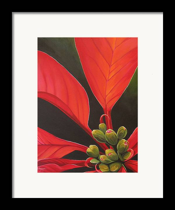 Poinsettia Closeup Framed Print featuring the painting Red Velvet by Hunter Jay