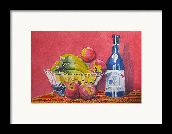 Fruit Framed Print featuring the painting Red Wall Blue Wine by Libby Cagle