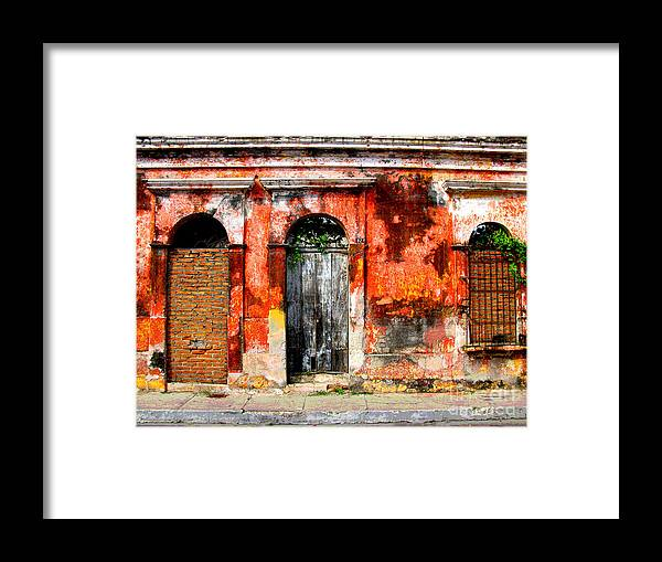 Darian Day Framed Print featuring the photograph Red Wall By Darian Day by Mexicolors Art Photography
