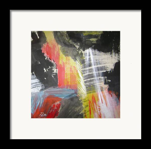 Abstract Framed Print featuring the mixed media Red Waterfalls by Lian Zhen