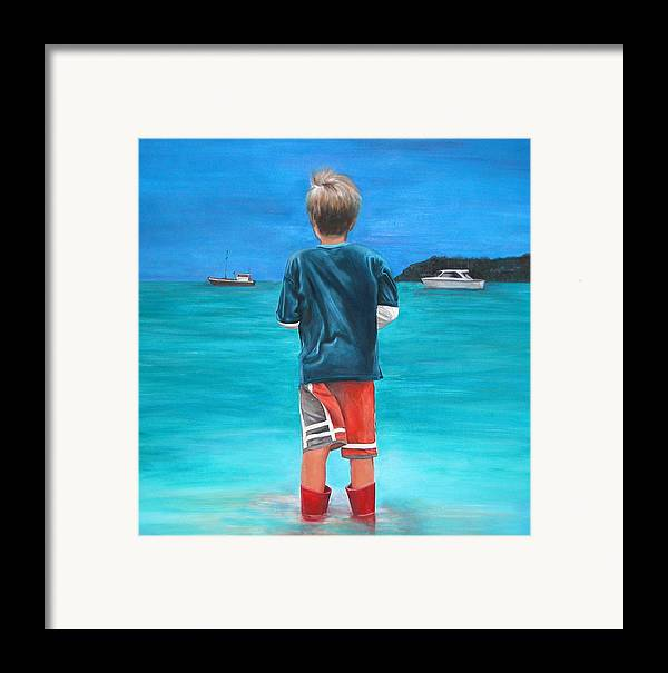 Beach Framed Print featuring the painting Red Wellies by Fiona Jack