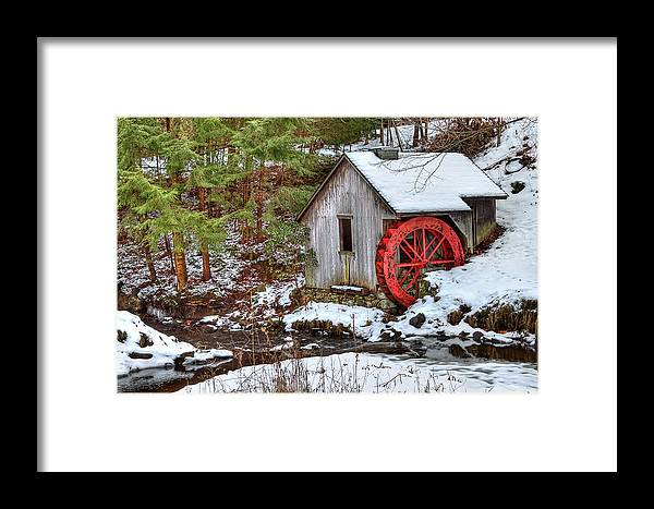Cold Framed Print featuring the photograph Red Wheel by Evelina Kremsdorf