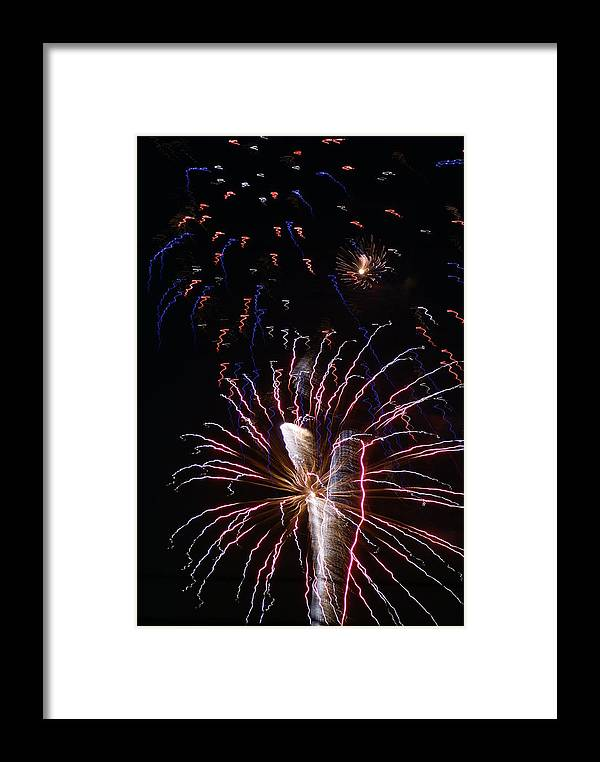 Fireworks Framed Print featuring the photograph Red White And Blue by Heather Green
