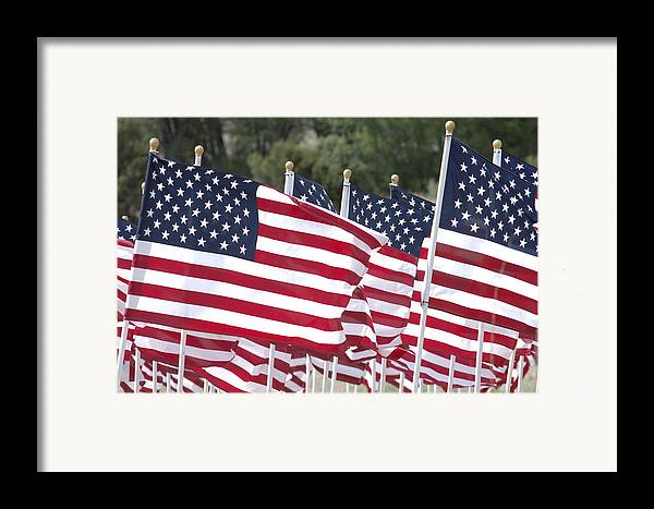 Flag Framed Print featuring the photograph Red White And Blue by Jerry McElroy
