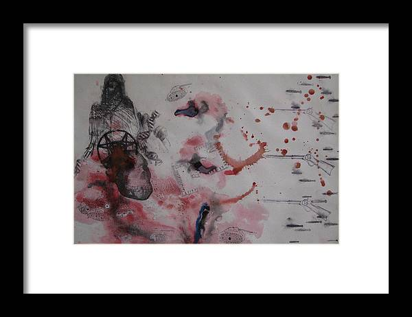 Guns Framed Print featuring the painting Red White And Blue by Kyle Ethan Fischer