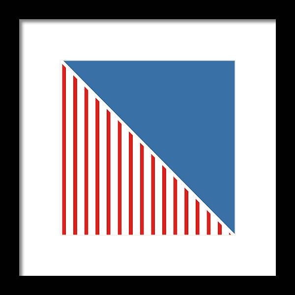 Red Framed Print featuring the digital art Red White And Blue Triangles by Linda Woods