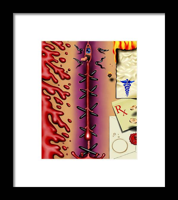 Surrealism Framed Print featuring the digital art Red White And Bruised I by Robert Morin