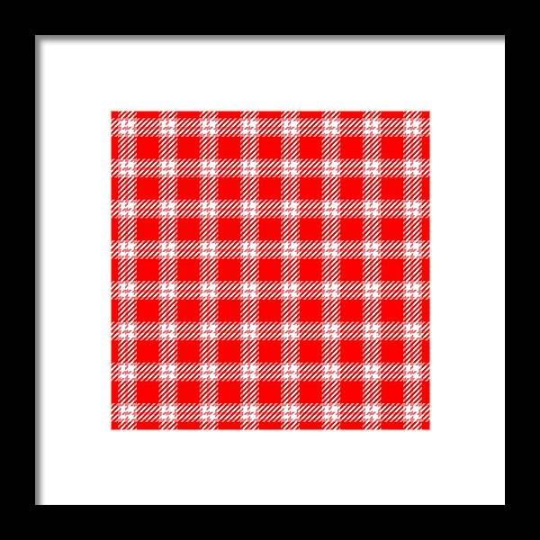 Red Framed Print featuring the digital art Red White Tartan by Lenka Rottova