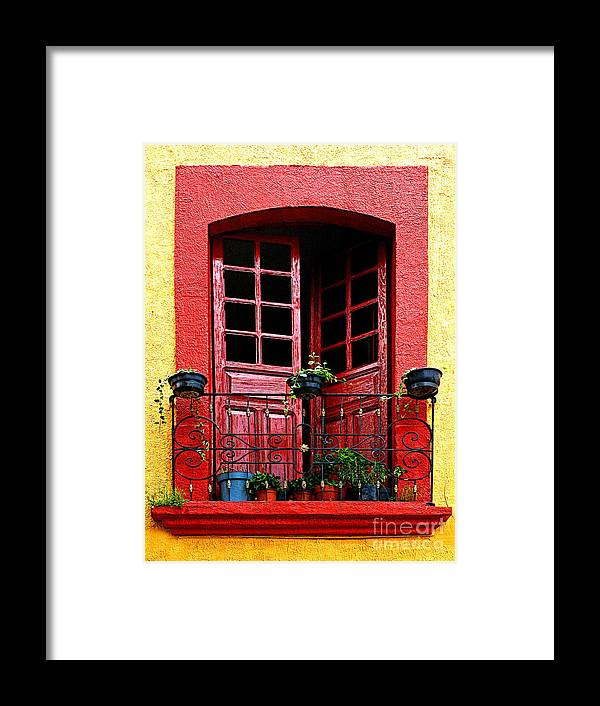Tlaquepaque Framed Print featuring the photograph Red Window by Mexicolors Art Photography