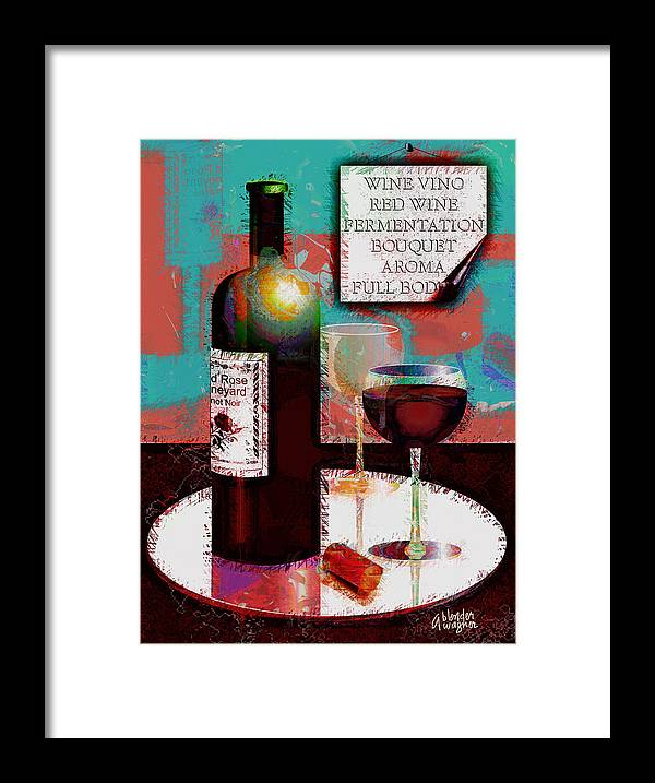 Wine Framed Print featuring the digital art Red Wine For Two by Arline Wagner