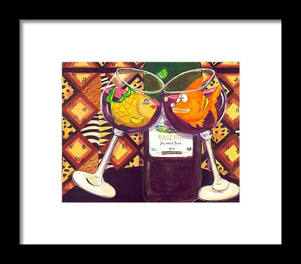 Fish Framed Print featuring the painting Red Wine Lovers by Linda Kegley