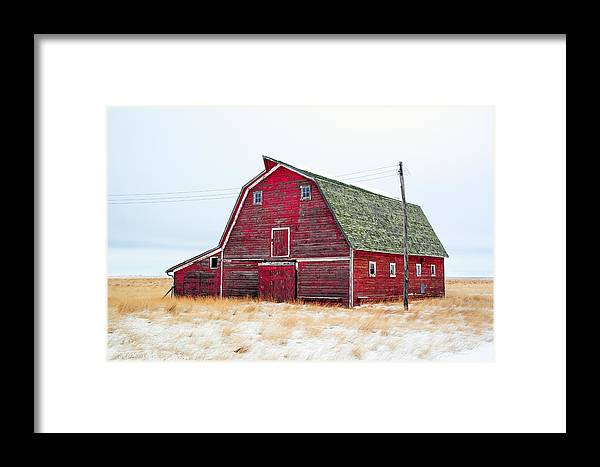 Red Framed Print featuring the photograph Red Winter Barn by Todd Klassy