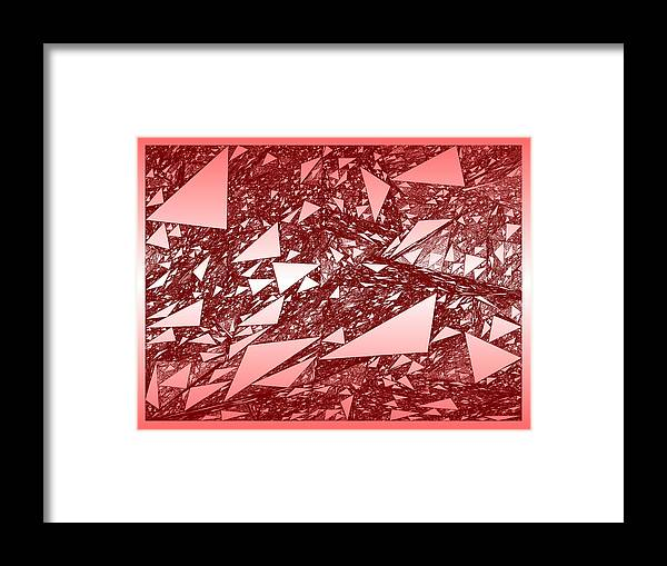 Rithmart Red Abstract Nested Triangles Recursion Recursive Iterative Nature White Background Lines Shades Drawing Trees Rocks Stones Landscape Organic Growth Crystal Branches Wood Cave Framed Print featuring the digital art Red.288 by Gareth Lewis