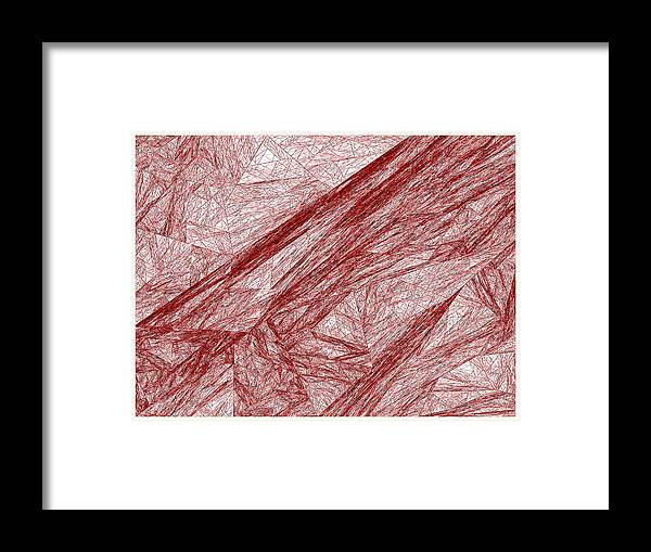 Rithmart Red Abstract Nested Triangles Recursion Recursive Iterative Nature White Background Lines Shades Drawing Trees Rocks Stones Landscape Organic Growth Crystal Branches Wood Cave Framed Print featuring the digital art Red.289 by Gareth Lewis