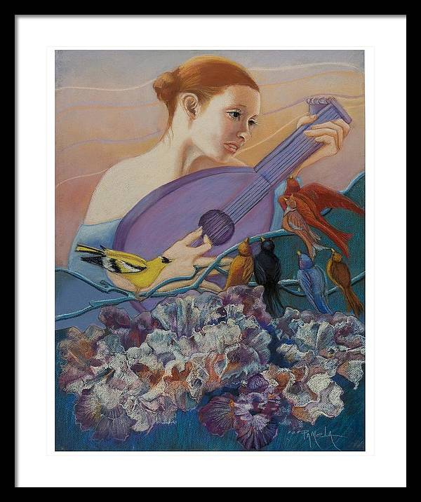 Flowers Framed Print featuring the pastel Redbird Sings To Farie by Pamela Mccabe