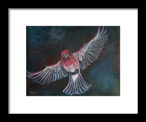 Acrylic Framed Print featuring the painting Redbird by Sylvia Stone