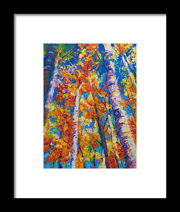 Impresssionist Framed Print featuring the painting Redemption - Fall Birch And Aspen by Talya Johnson