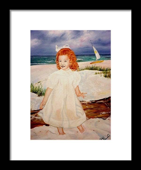 Beach Framed Print featuring the painting Redhead On Beach by Terri Kilpatrick