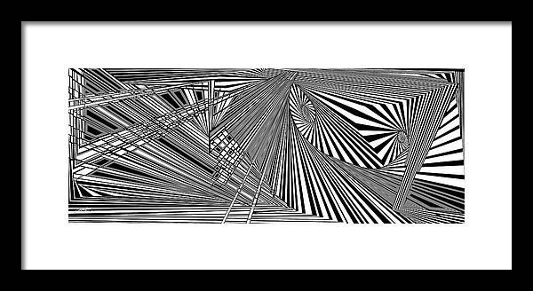 Dynamic Black And White Framed Print featuring the digital art Rednoweht by Douglas Christian Larsen