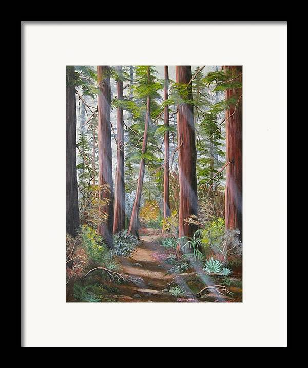 Landscape Framed Print featuring the painting Redwood Path by Joni McPherson