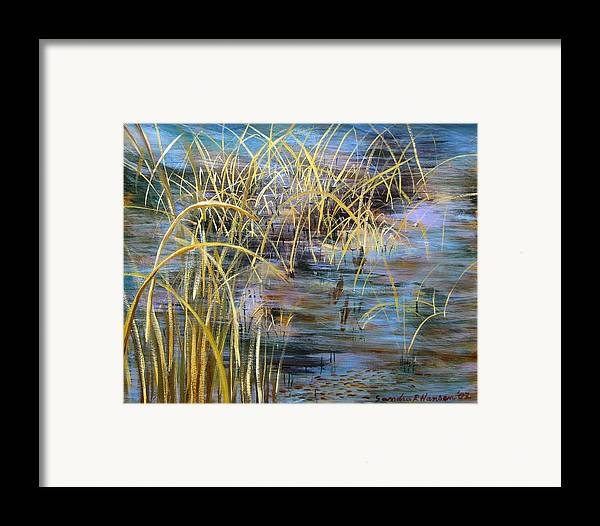 Reeds Framed Print featuring the painting Reeds In The Water by Art Nomad Sandra Hansen