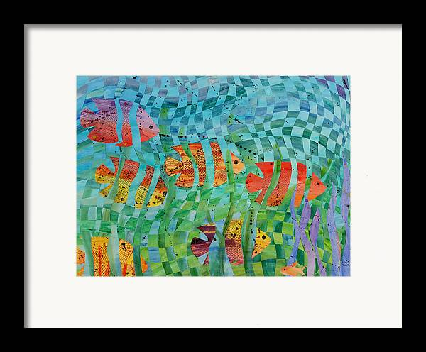 Fish Framed Print featuring the painting Reef 1 by Linda L Doucette