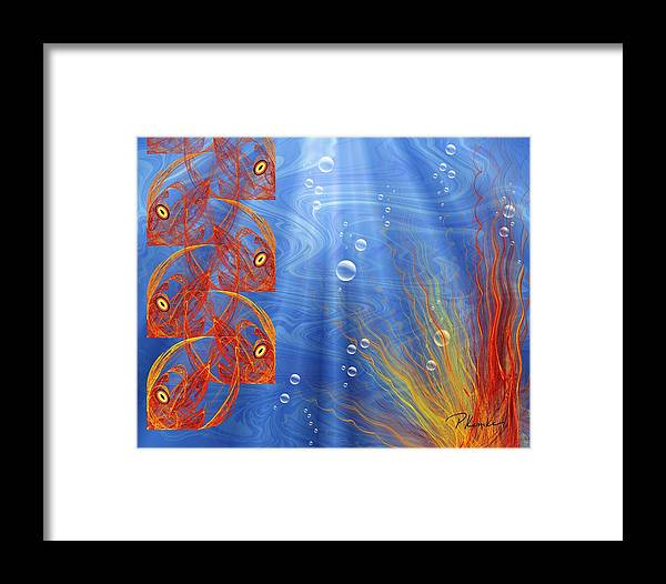 Orange Framed Print featuring the digital art Reef by Patricia Kemke