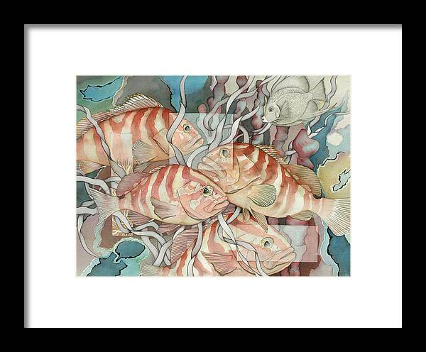 Fish Framed Print featuring the painting Reef Story by Liduine Bekman