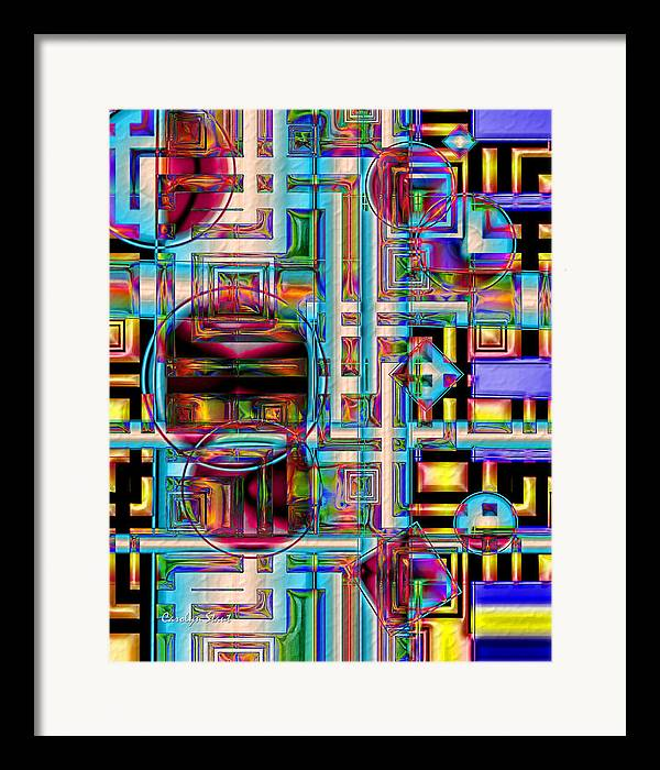 Abstract Shapes Color Geometric Framed Print featuring the digital art Refinement by Carolyn Staut