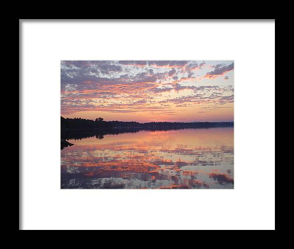 Red Framed Print featuring the photograph Reflected Sunrise by Dennis Leatherman