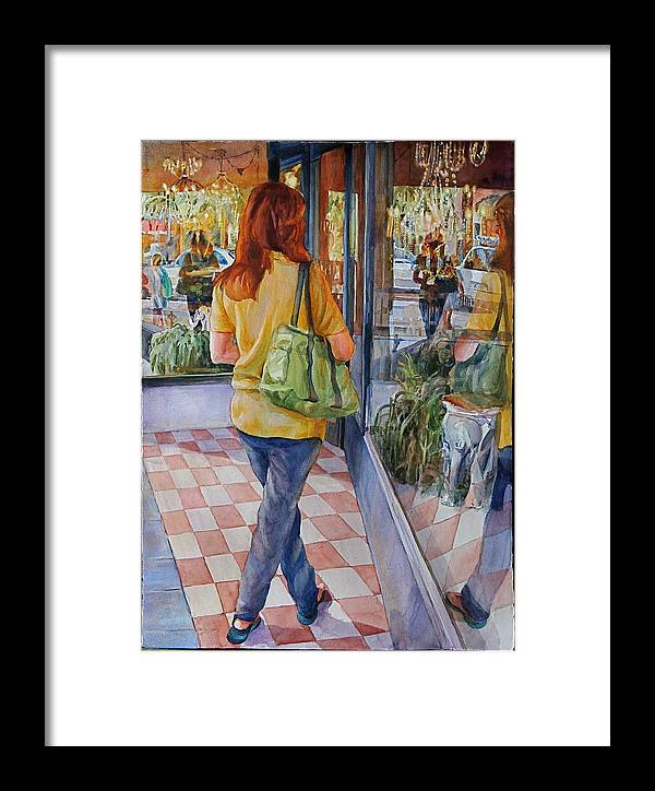 Figures Framed Print featuring the painting Reflecting Shopping by Carolyn Epperly