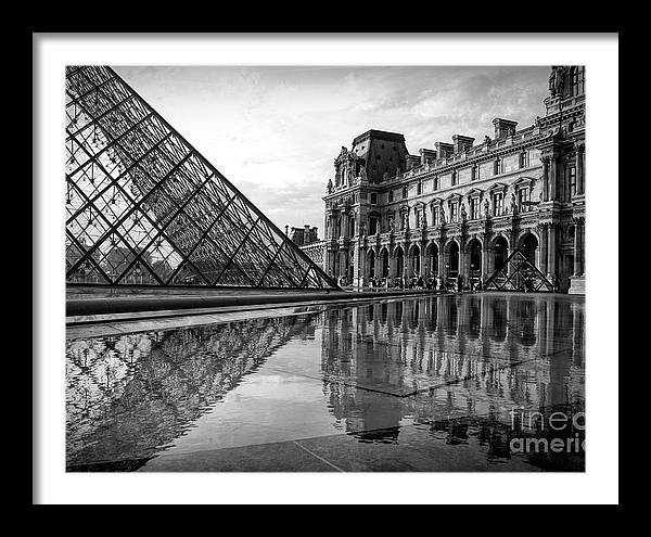 Reflection Black White The Louvre Glass Pyramid Famous  by Chuck Kuhn