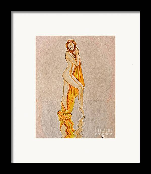 Nude Framed Print featuring the painting Reflection by Herschel Fall