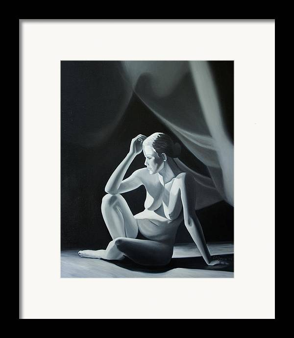 Figure Framed Print featuring the painting Reflection In Gray by Stephen Degan