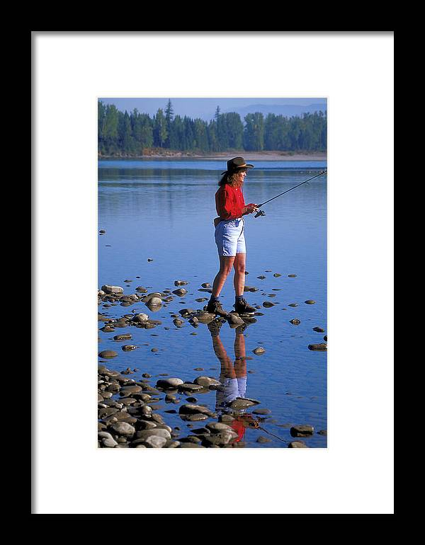 Woman Framed Print featuring the photograph Reflection In Montana Stream by Carl Purcell