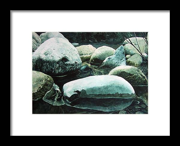 Landscape Framed Print featuring the painting Reflection by Richard Ong