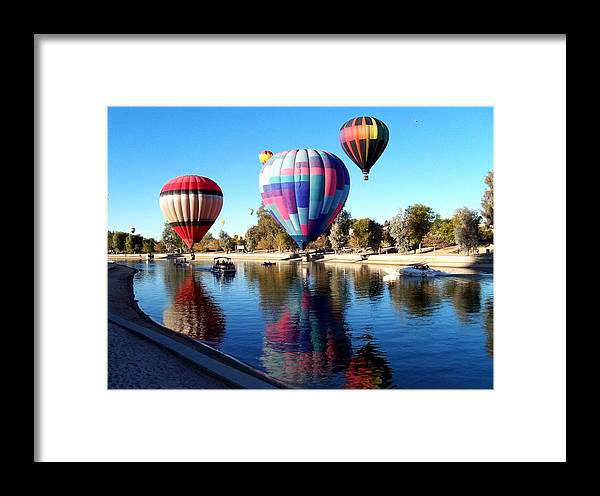Hot Air Balloon Festival Framed Print featuring the photograph Reflections Along The Channel by Adrienne Wilson
