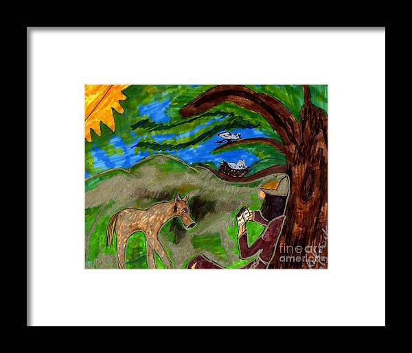 Monk Reading With A Deer And Birds Watching Framed Print featuring the mixed media Reflections And Prayer Of St. Francis by Elinor Helen Rakowski