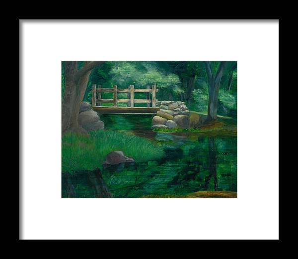 Summer Water Reflections Stream Bridge Landscape Rocks Green Park Framed Print featuring the painting Reflections At Chatfield Hollow by Paula Emery
