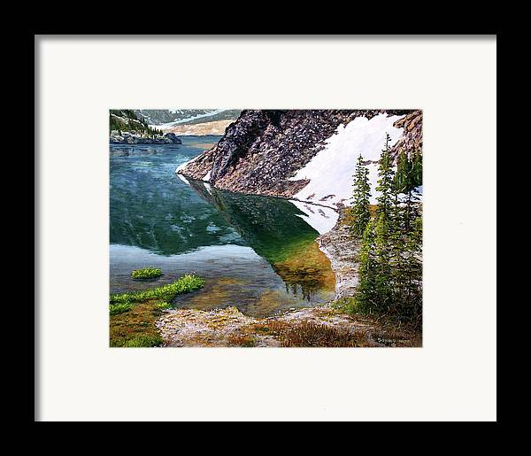 Ellery Lake Framed Print featuring the painting Reflections In Ellery by Donald Neff