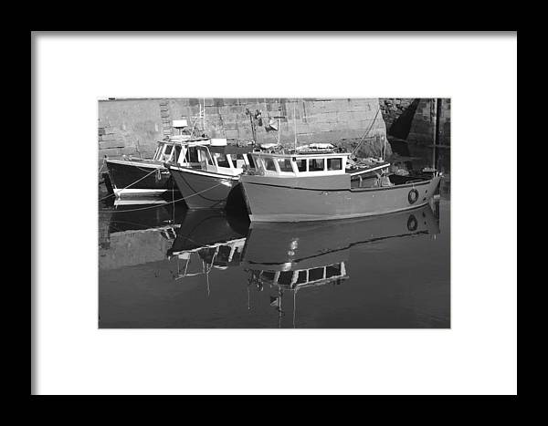 Harbour Framed Print featuring the photograph Reflections In The Harbour by Victor Lord Denovan