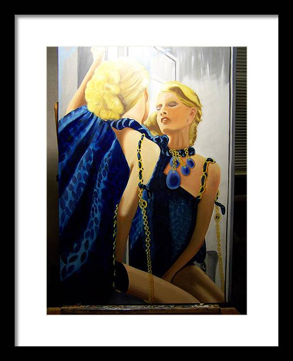 Portriat Framed Print featuring the drawing Reflections In The Mirror by Robert E Gebler