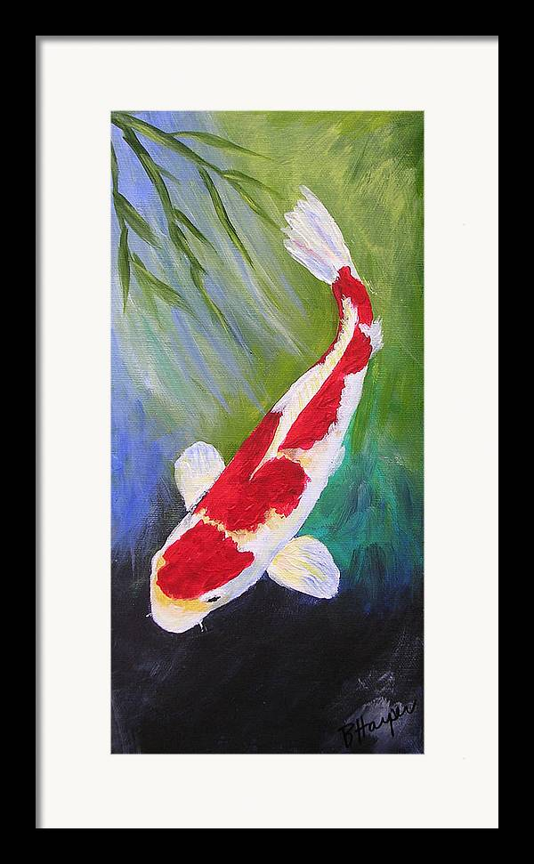 Koi Framed Print featuring the painting Reflections Koi by Barbara Harper